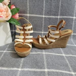 Mossimo Cork Wedges White Tan Gold Cork 10 Sandals